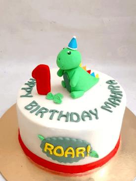 Baby Dinosaur 1st Birthday Cake