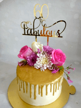 Pretty Floral Gold Drip Cake