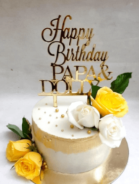 Floral Cake with Gold Strokes & Customised Gold Topper
