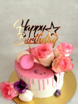 Fresh Pink Roses & Drip Cake