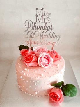 Pink Floral Anniversary Cake
