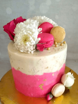 Pink & White Floral Engagement Cake