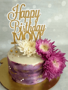 Purple Floral Cake with custom topper