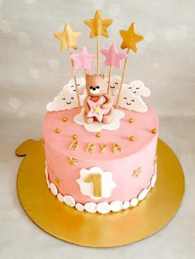 Cute Teddy 1st Birthday Cake