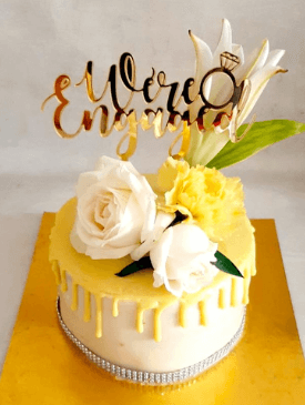 Yellow Drip Cake with Gold Custom-made topper