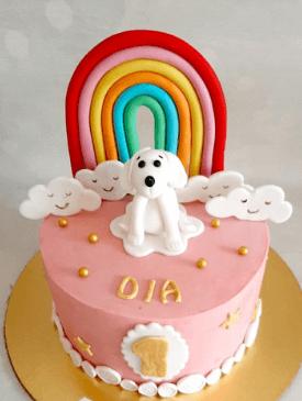 Cute Puppy First Birthday Cake