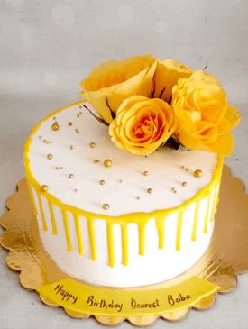 Yellow Roses & Yellow Drip Cake