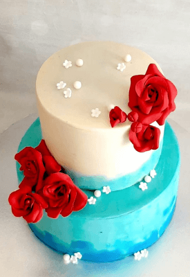 White & Blue Christian Wedding Cake