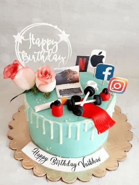Blue & White Husbands Birthday Cake