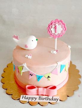 Pastel Pink Little Birdy 1st Birthday Cake