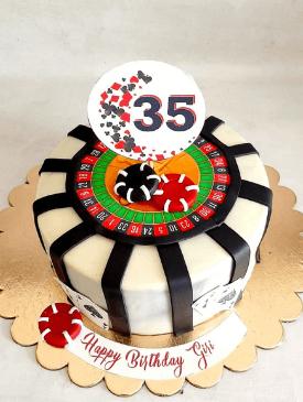 Roulette Wheel Casino Cake