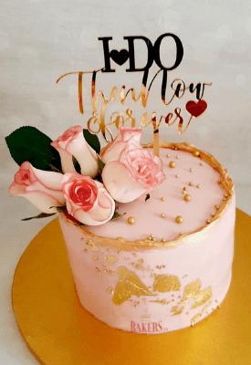 Gold Deckle Edges Floral Cake<