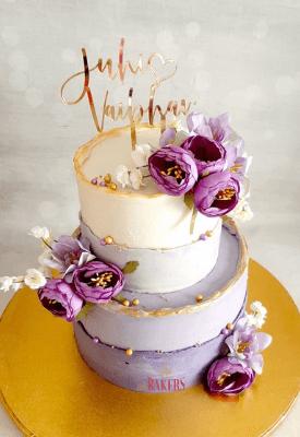Purple Peonies Engagement Cake