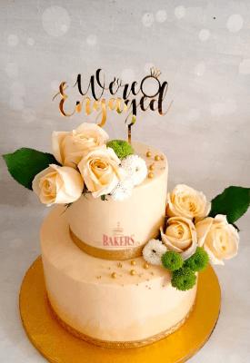 Peach FloralEngagement Cake