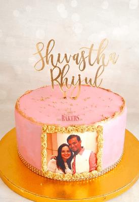 Couple Portrait Engagement Pink Cake