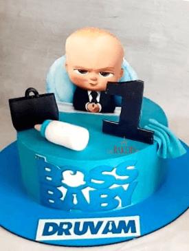 Blue Boss Baby 1st Birthday Cake