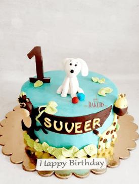 Jungle Theme First Birthday Cake
