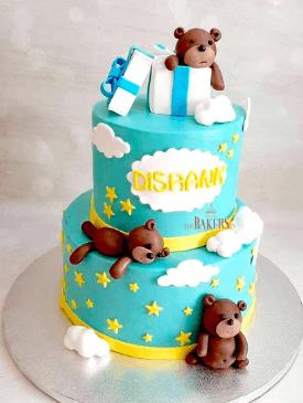 Three Teddies 1st Birthday Cake