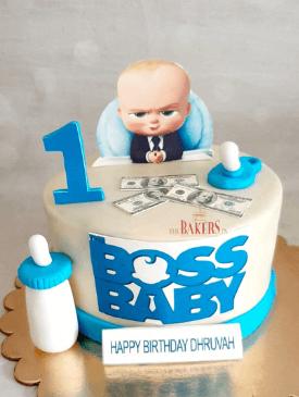 White Boss Baby 1st Birthday Cake