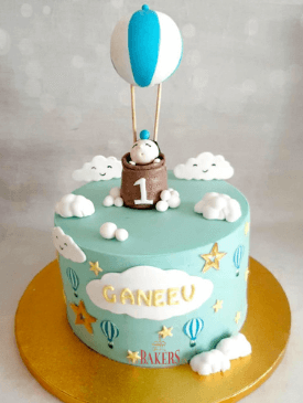 Hot Air Balloon with Clouds 1st Birthday Cake