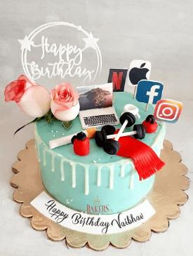 Blue Drip Gym & Social Media Cake