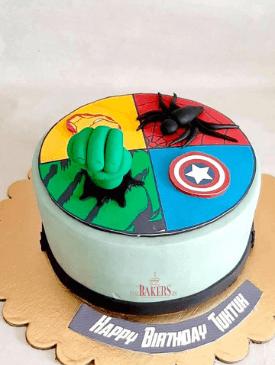 Ironman, Captain America, Spiderman & Hulk Cake
